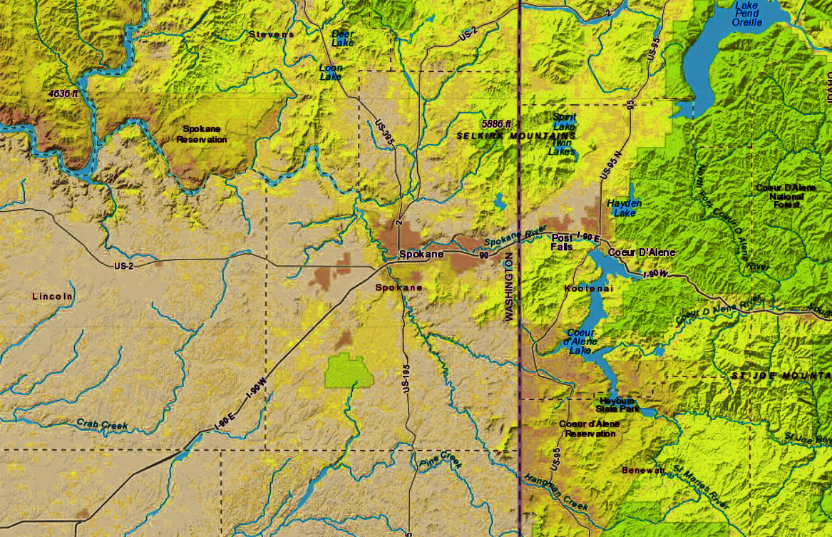 Map of the Inland Northwest region around Spokane.